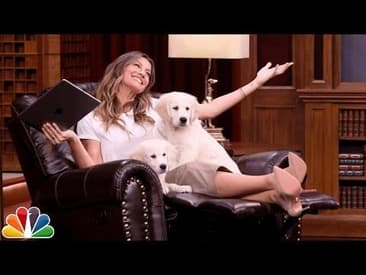 """Jimmy Fallon Challenges Gisele Bündchen to a Game of """"Double Puppardy"""""""