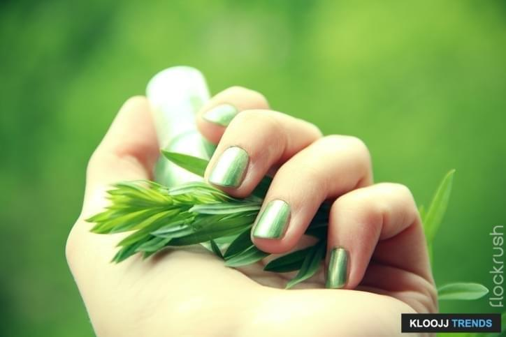 A female hand with spring green (mint coloured) nail polish on holding a twig against a green background