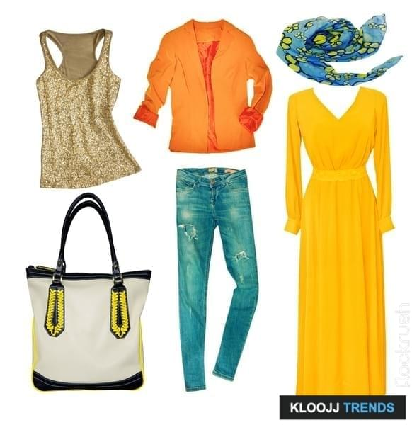 Bright modern clothes set. Collage female clothing. Vogue wear isolated on white.