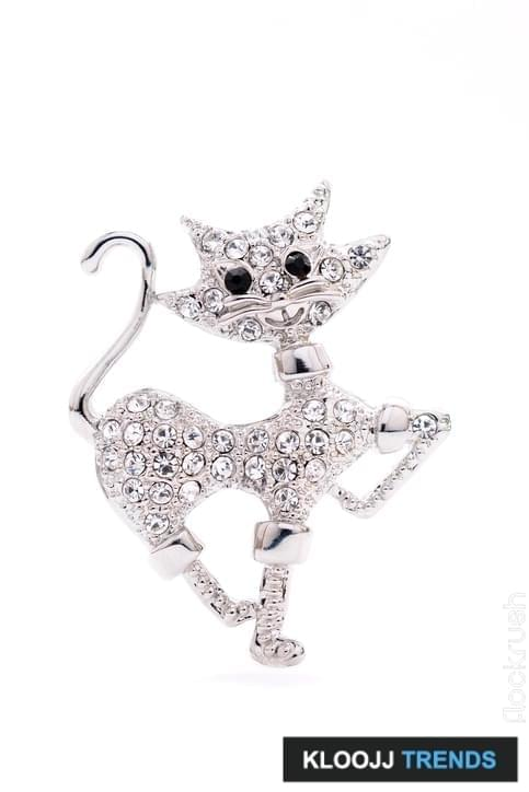 brooch in the shape of a cat on a white background