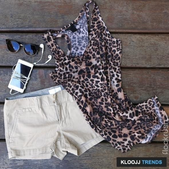 Woman's basic summer fashion - chino shorts with animal printed  shirt