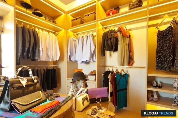 design and clothes in luxury wardrobe