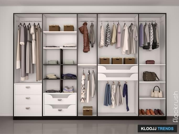 wide closet with a large window, modern home interior. 3d illustration