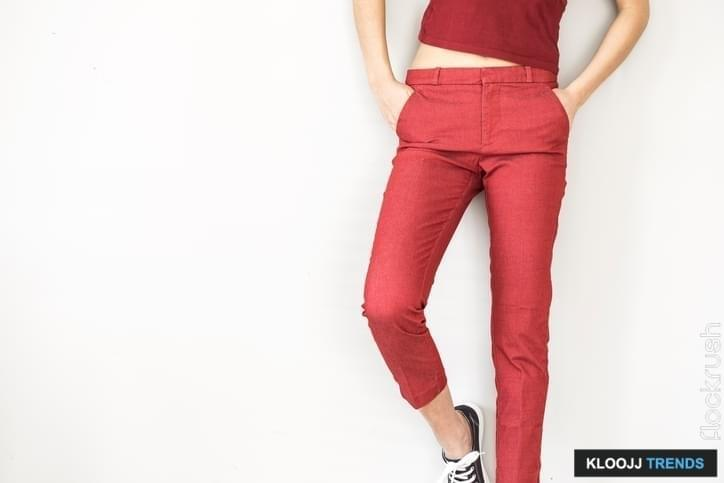 Woman in red pants and shirt