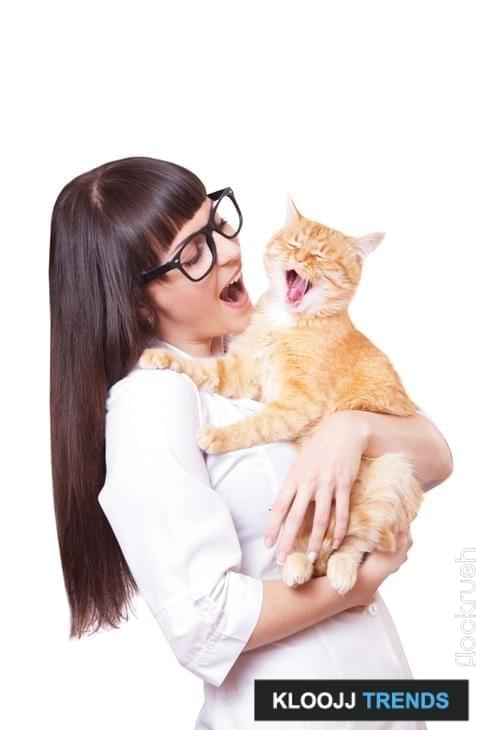 Portrait of a beautiful woman holding red cat, isolated on a white background