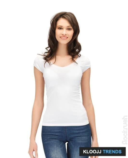 people, advertisement and clothing concept - happy woman in blank white t-shirt