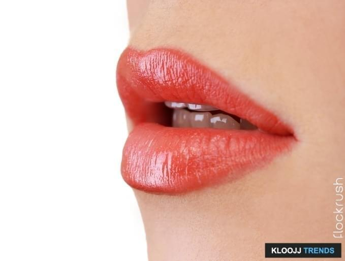 beautiful make-up of gloss lips, close up