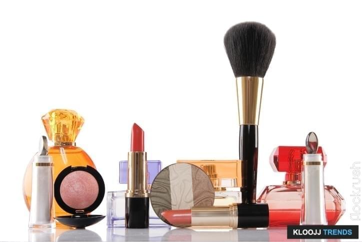 perfume and cosmetics on white background, beauty concept